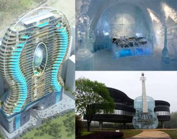 (Top Left Corner) Bandra Ohm Residential Tower in India, Piano House in China, ICEHOTEL in Sweden (Top Right Corner)